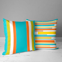 outdoor pillows with stripes, blue, teal, yellow
