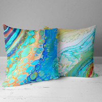 unique outdoor pillows by Julia Bars, coastal theme in blue and green