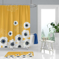 Yellow shower curtain and bath mat set, floral bathroom decor