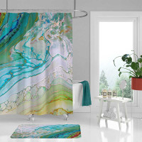 coastal shower curtain in teal, sea foam green and blue