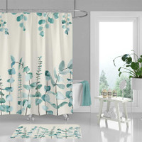 botanical shower curtain with hand painted watercolor green leaves