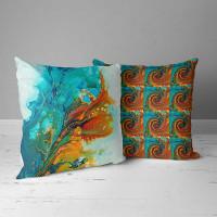 decorative pillows with unique art, blue, orange