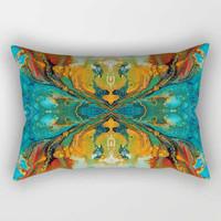 lumbar pillow cover, teal green orange