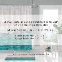 Abstract Shower Curtain, Bath Mat, Coastal Bathroom Decor, Teal, White, Beige