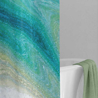 coastal shower curtain in teal and seafoam colors