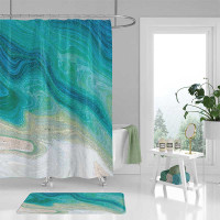 nautical abstract ocean wave shower curtain, teal, white and beige