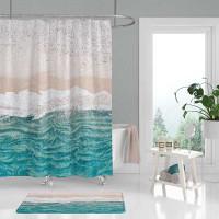 coastal art shower curtain, beige, sand and teal