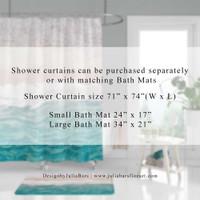 Blue Yellow Dahlia Shower Curtain, Bath Mat, Gray, White Floral Bathroom Decor