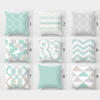 light turquoise and gray throw pillow covers by Julia Bars