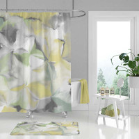 abstract floral shower curtain in muted green, gray and yellow