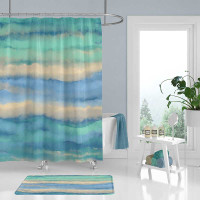 coastal shower curtain and bath mat in blue, teal and beige