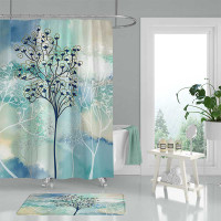 blue and beige art shower curtain with trees