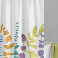 leaves shower curtain, green, yellow, purple