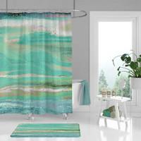 blue green coastal shower curtain