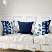 eucalyptus leaves throw pillows in blue and white