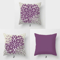 dusty purple and gray floral pillows by Julia Bars