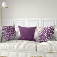 dusty purple, dusty violet throw pillows with floral patterns