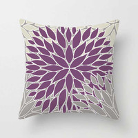 Dusty Purple and Gray Throw Pillow Covers with Floral Patterns