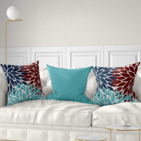 teal, red and blue outdoor pillows with Dahlia flowers