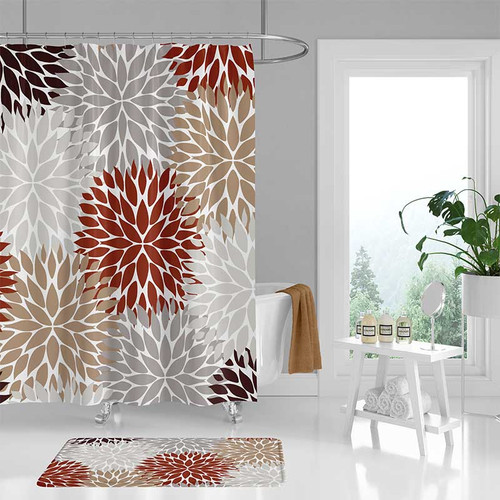 floral shower curtain and bath mat, red, brown, gray