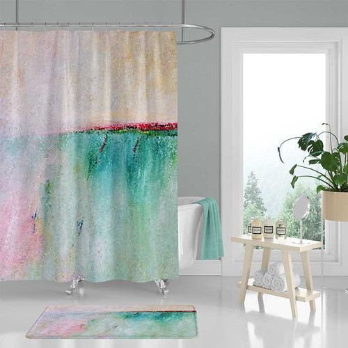 abstract shower curtain and bathroom floor rug in pink and blue