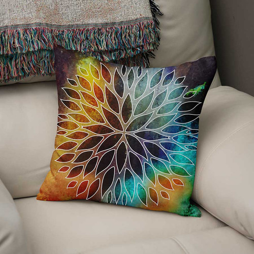 decorative cushion, orange, blue, purple throw pillow