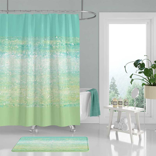 shower curtain and bath mat in mint green, blue and white