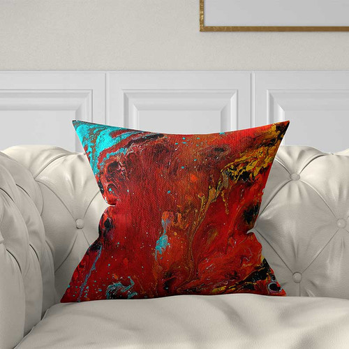 red and blue pillow, decorative art pillow