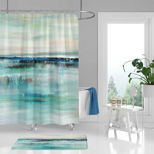 abstract shower curtain and bath mat set with coastal theme in blue and beige