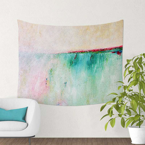 teal and pink abstract tapestry on the wall.