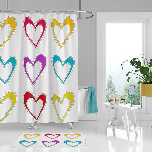 shower curtain with red, yellow and blue hearts