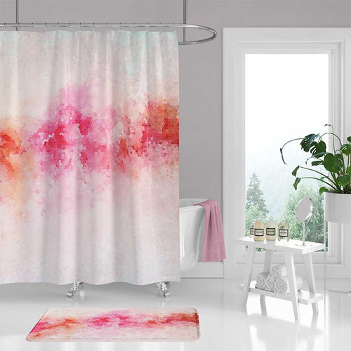 Peony flower shower curtain and bath mat, pink and white