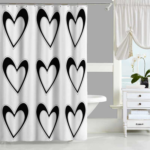 black and white shower curtain with hearts design