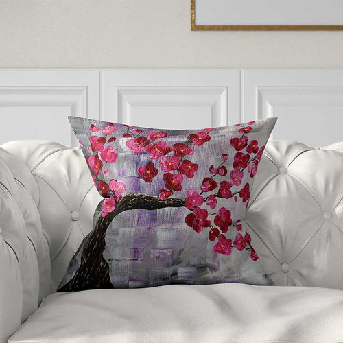 Cherry pillow, floral pillow cover in pink and gray