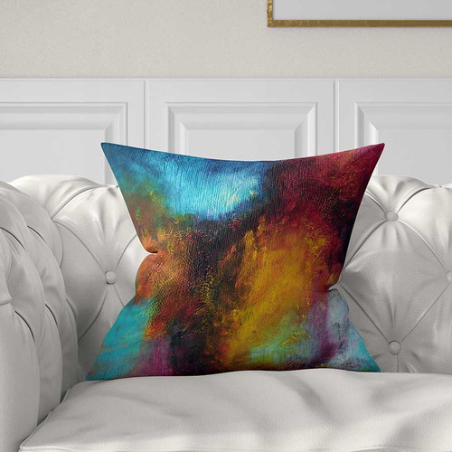 Abstract art pillow, blue, red, purple