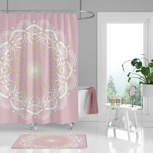 pink shower curtain with mandala design