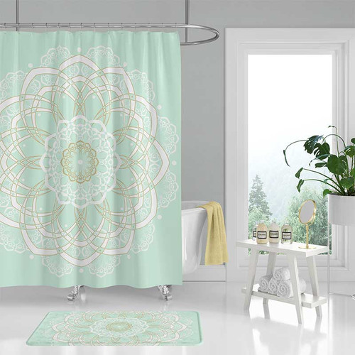 mandala bath curtain,  mint green shower curtain