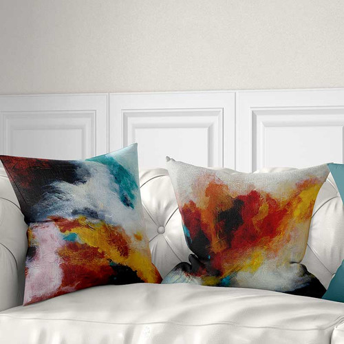 throw pillows, abstract art pillow covers, blue, red, yellow