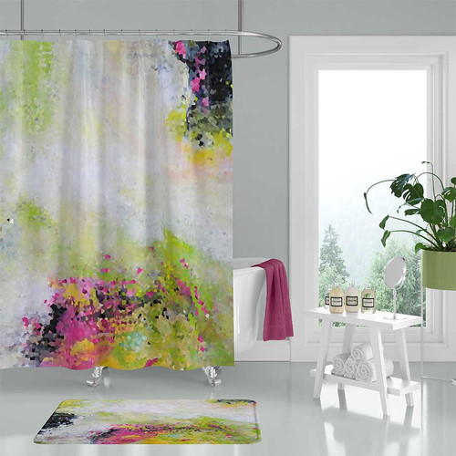 abstract art shower curtain, pink, black, green