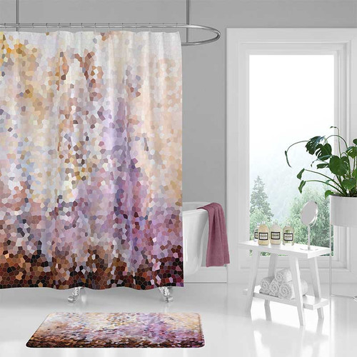 Mosaic shower curtain and bath mat, purple, yellow, brown
