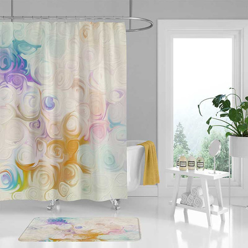 Abstract bathroom curtain in blue and yellow