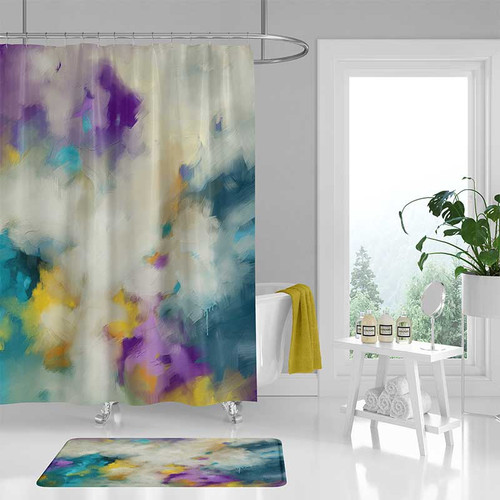 shower curtain with abstract print in teal, purple and yellow