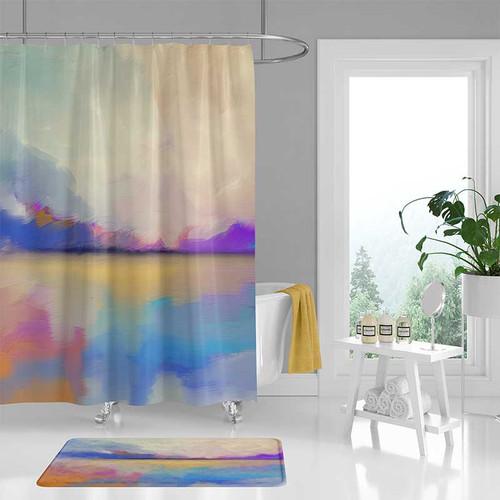 abstract art shower curtain, seascape bath curtain, blue, purple, yellow