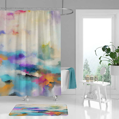 colorful abstract shower curtain and bath mat