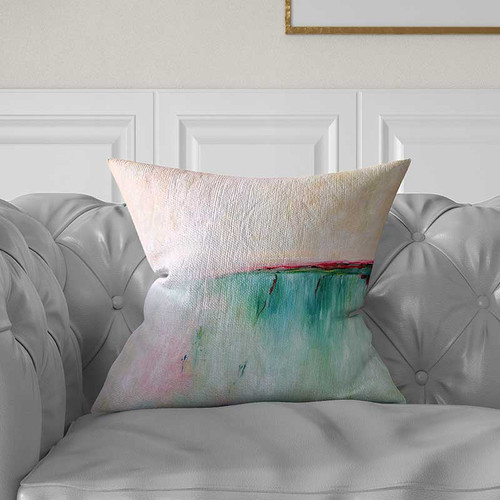 Blue and pink pillow cover
