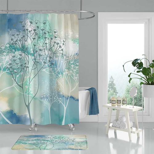 watercolor shower curtain and bath mat with blue and beige trees
