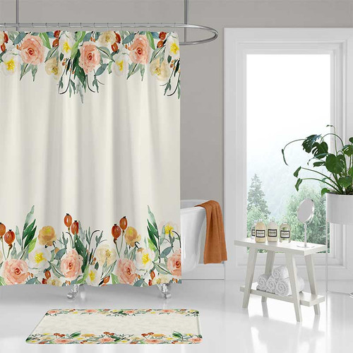 shower curtain with watercolor flowers, cream, coral pink