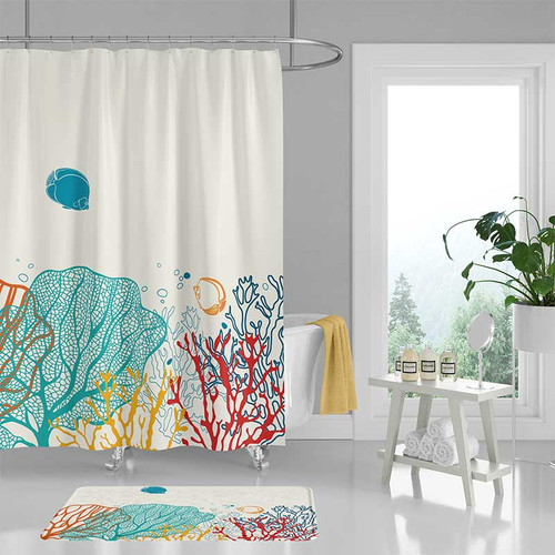 underwater shower curtain, corals and fishes bathroom decor
