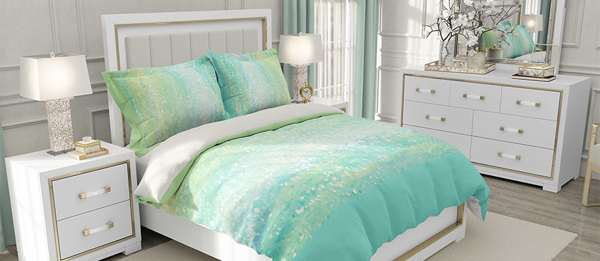 Coastal duvet cover mint green and aqua blue by Julia Bars