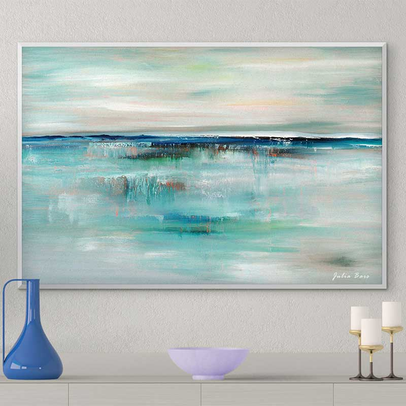 Abstract Seascape Print Coastal Art Blue Turquoise Gray